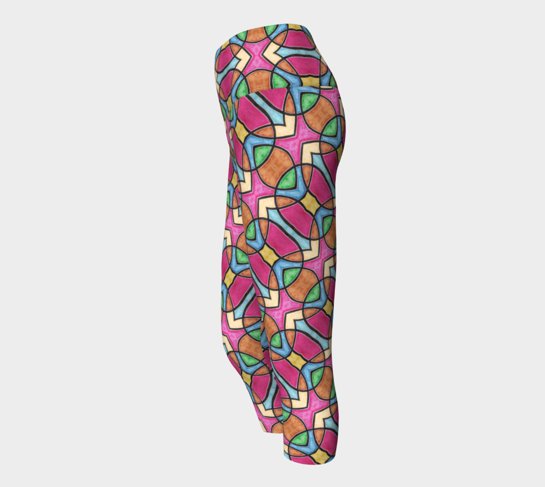 Red Nouveau Stained Glass Yoga Capris  preview #2