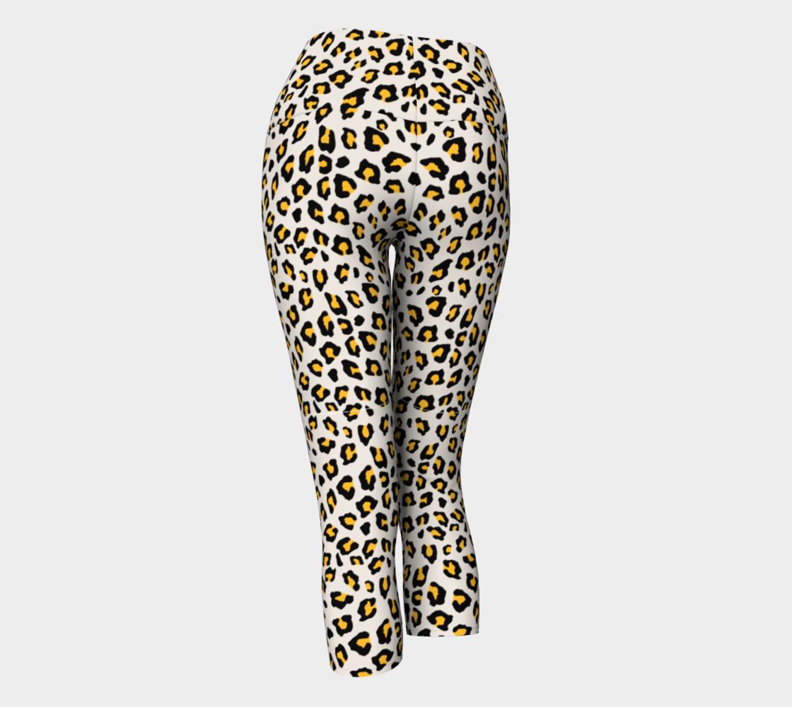 Leopard Print - Mustard Yellow Yoga Capris preview #3