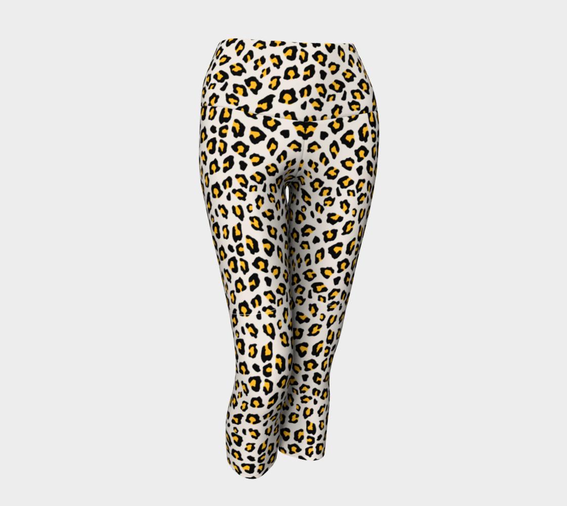 Leopard Print - Mustard Yellow Yoga Capris preview #1