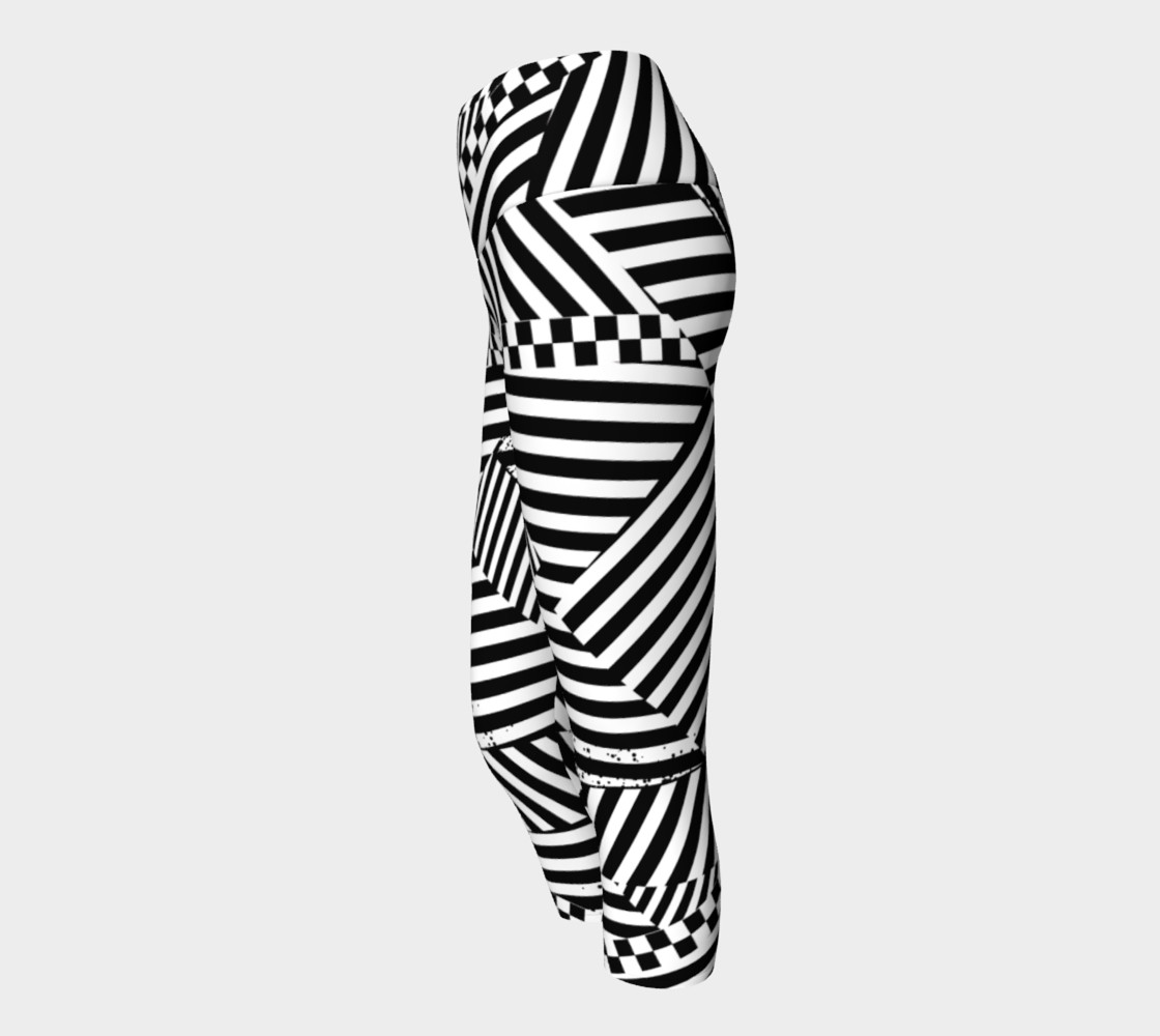 Aperçu de Black White Stripes Checkerboard Patchwork Capri Yoga Pants #2