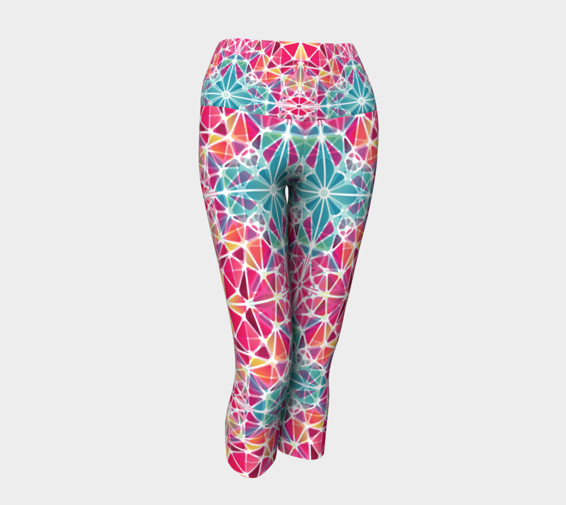 Pink and Blue Kaleidoscope Yoga Capris preview #1