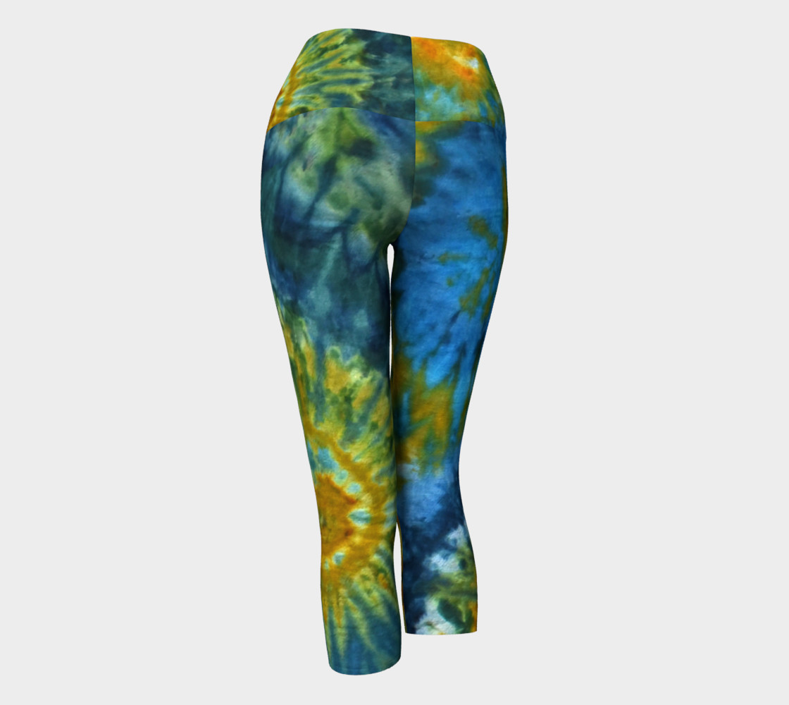 Blue Yellow Spirals Yoga Capri preview #3