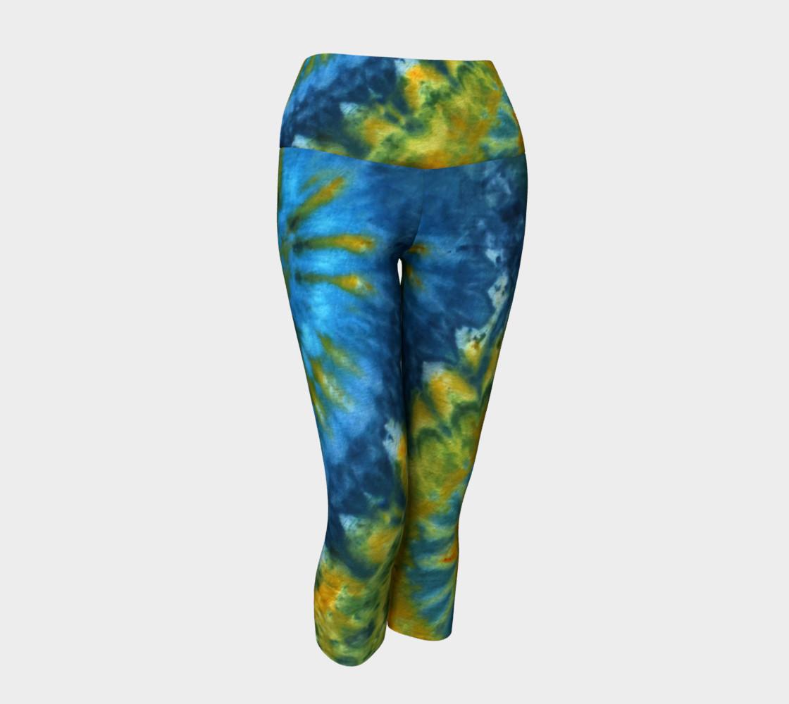 Blue Yellow Spirals Yoga Capri preview #1