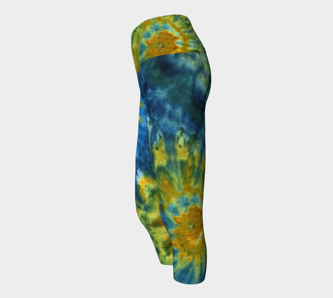 Blue Yellow Spirals Yoga Capri preview #2