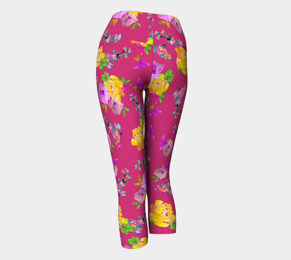 Summery Blooms with Pink Yarrow Ladies Capri preview #3