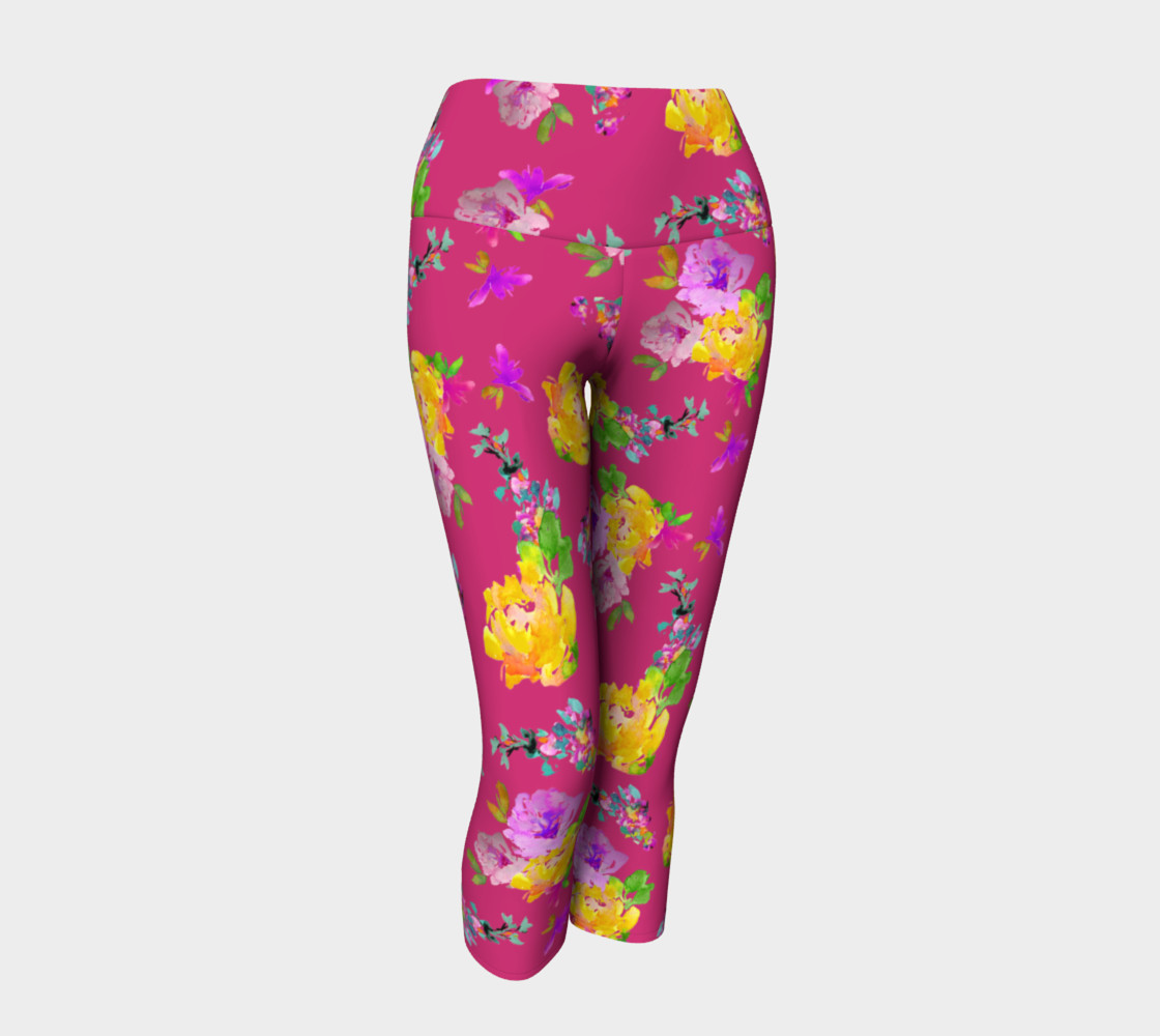 Summery Blooms with Pink Yarrow Ladies Capri preview #1