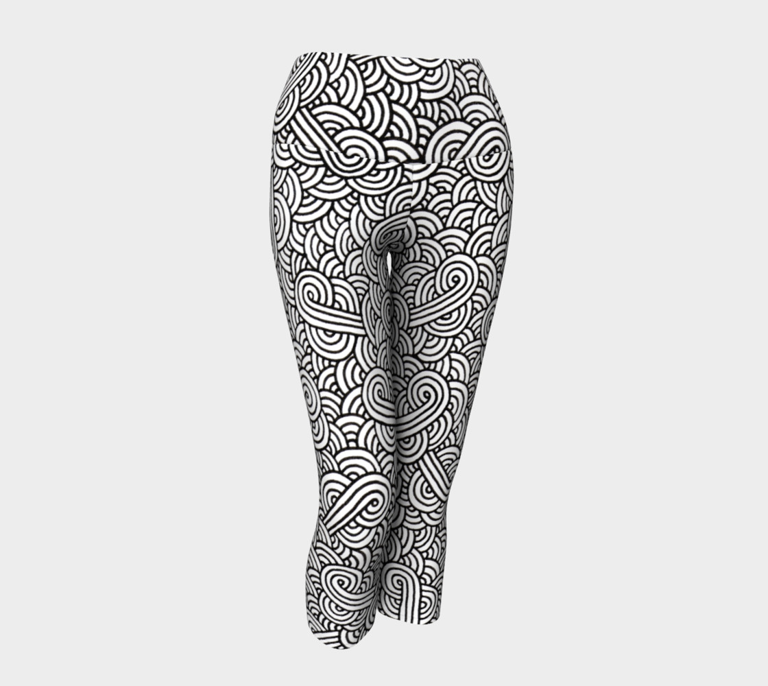 Black and white swirls doodles Yoga Capris preview #1