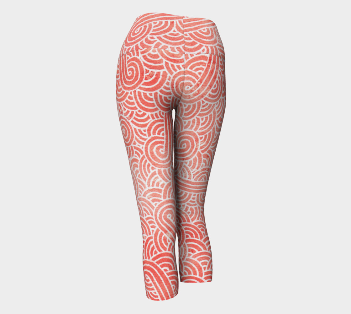 Peach echo and white swirls doodles Yoga Capris preview #3