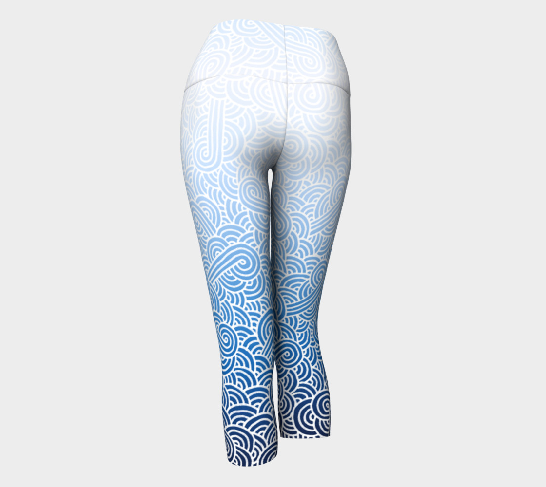 Ombre blue and white swirls doodles Yoga Capris preview #3