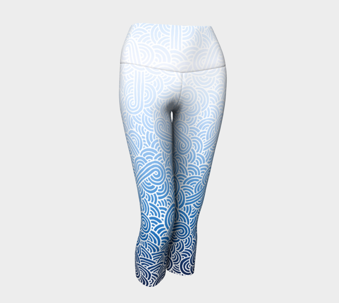 Ombre blue and white swirls doodles Yoga Capris preview #1