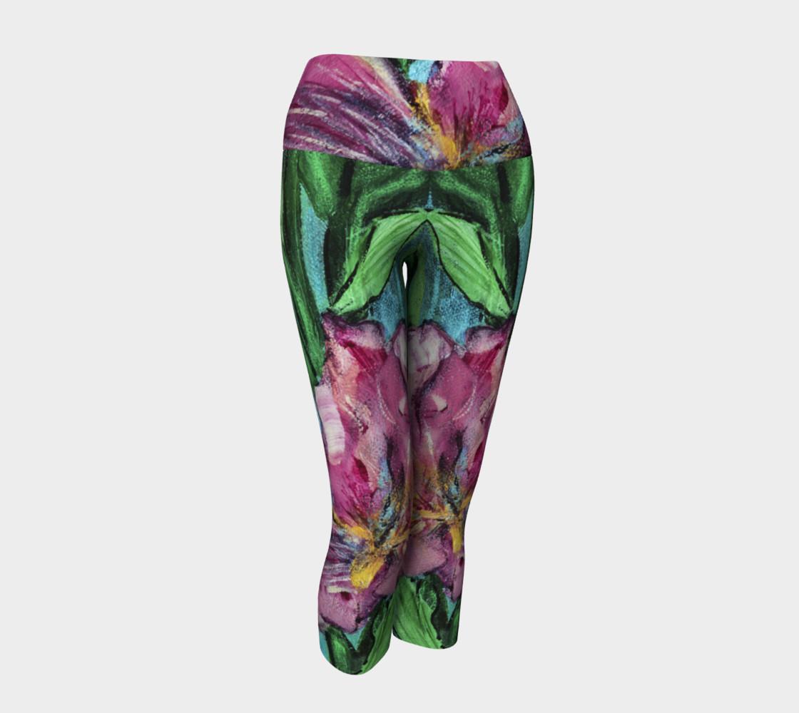 Pink Irises Yoga Capris preview #1