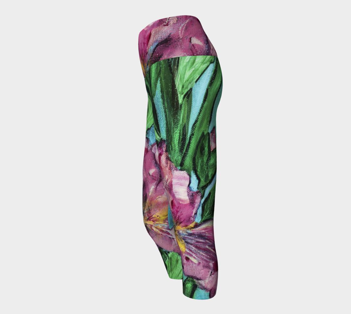 Pink Irises Yoga Capris preview #2