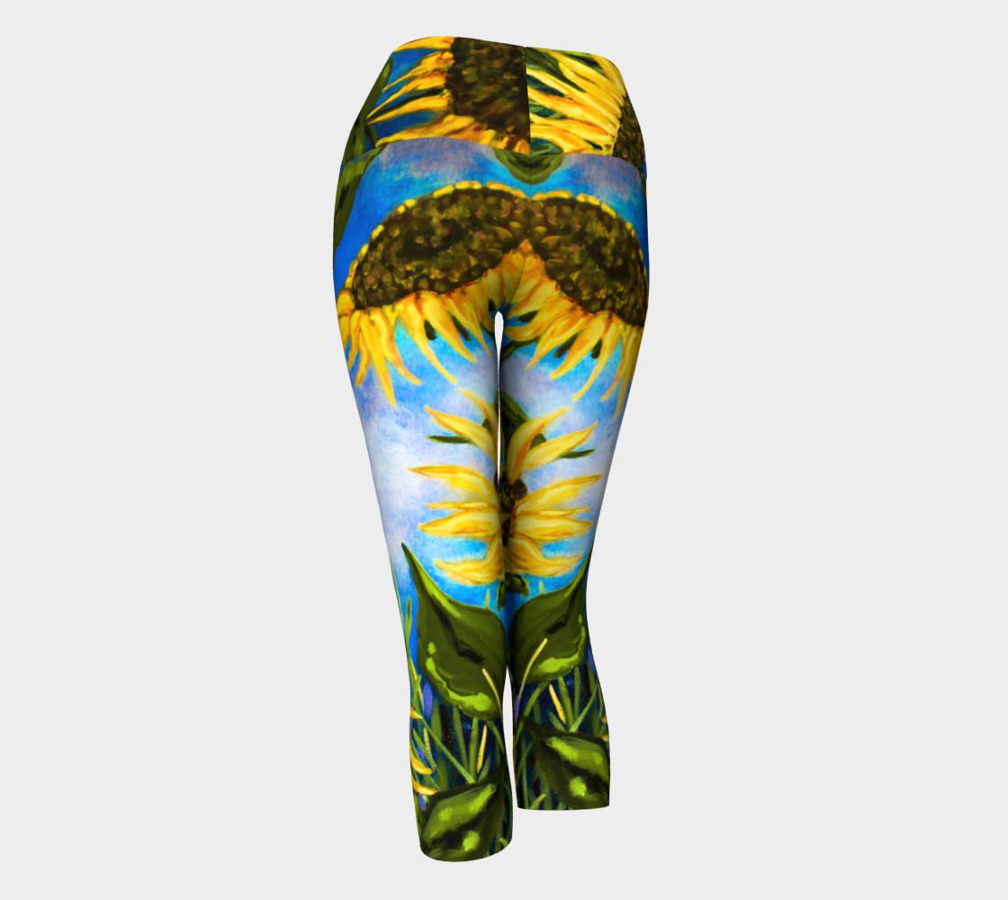 Aperçu de Vibrant Sunflowers Yoga Capris #3
