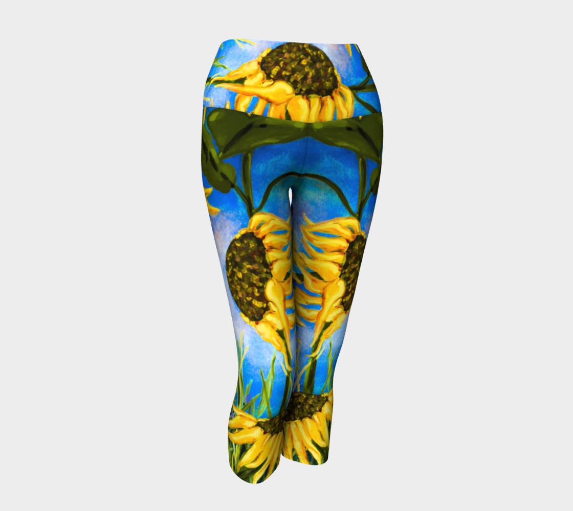Aperçu de Vibrant Sunflowers Yoga Capris #1