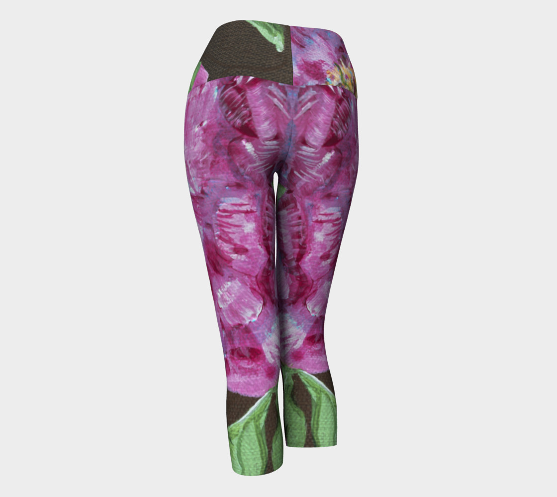 Pink Peonies Yoga Capris preview #3