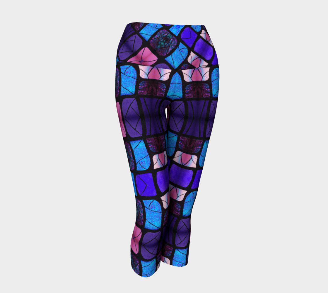 Waterlily Stained Glass - Purple Yoga Capris preview #1