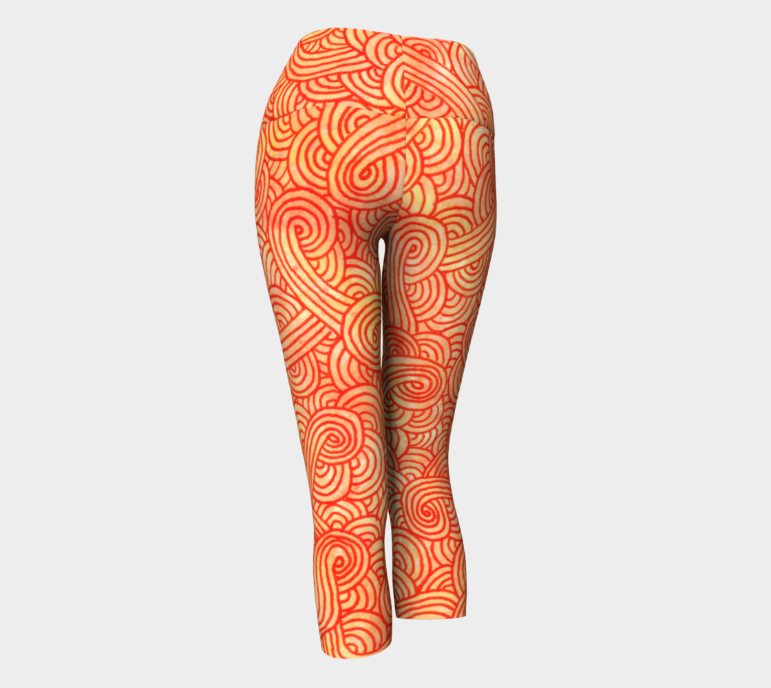 Orange and red swirls doodles Yoga Capris preview #3