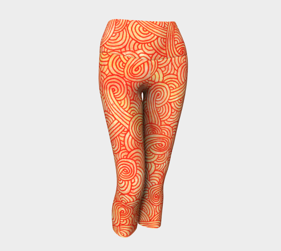 Orange and red swirls doodles Yoga Capris preview #1