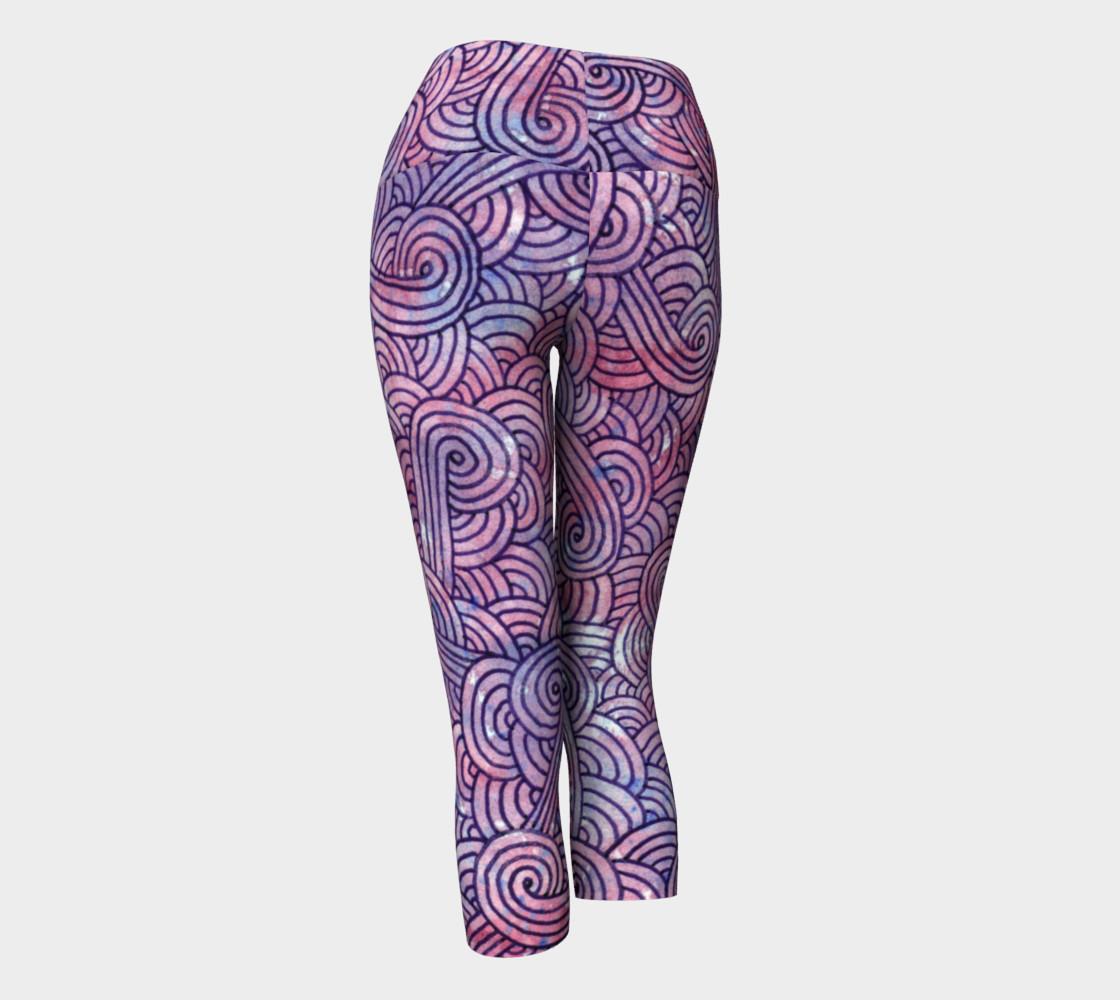 Purple swirls doodles Yoga Capris preview #3