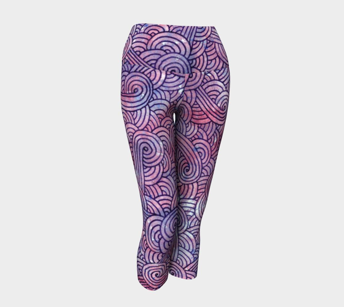 Purple swirls doodles Yoga Capris preview #1