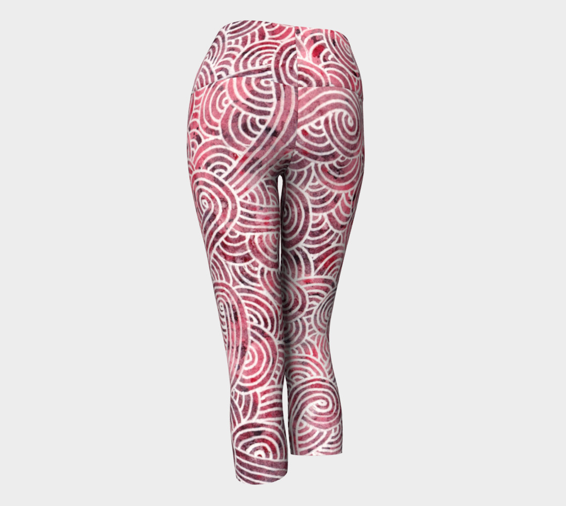 Red and white swirls doodles Yoga Capris preview #3