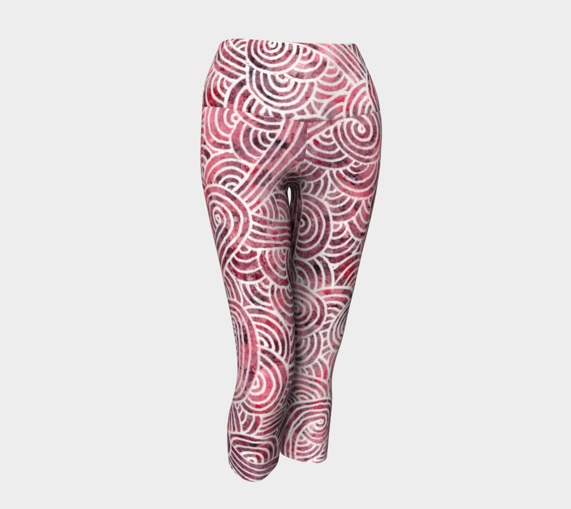 Red and white swirls doodles Yoga Capris preview #1
