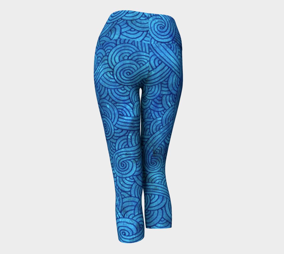 Turquoise blue swirls doodles Yoga Capris preview #3