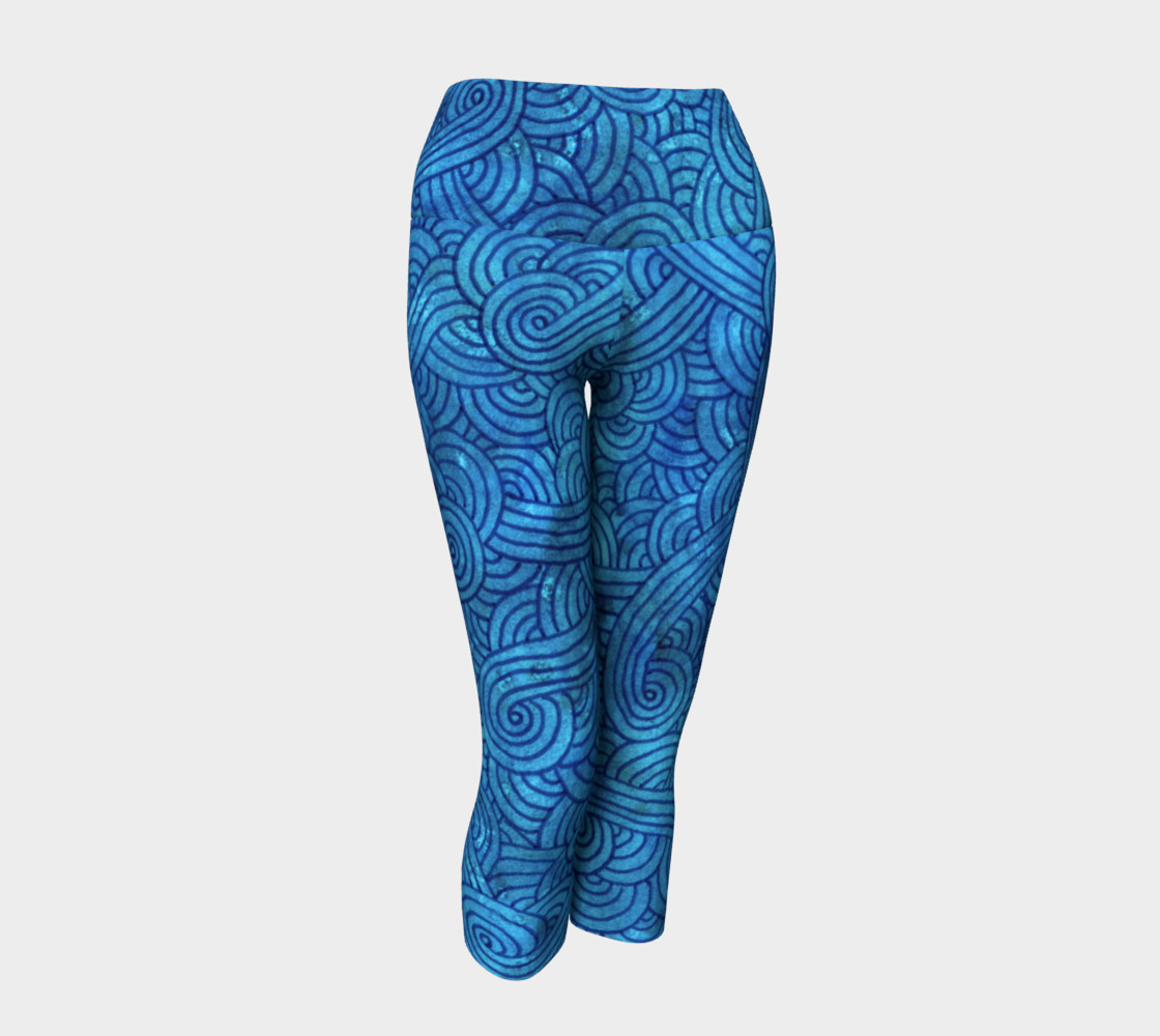 Turquoise blue swirls doodles Yoga Capris preview #1
