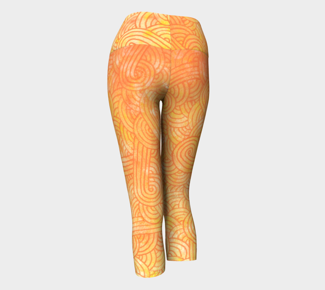 Yellow and orange swirls doodles Yoga Capris preview #3
