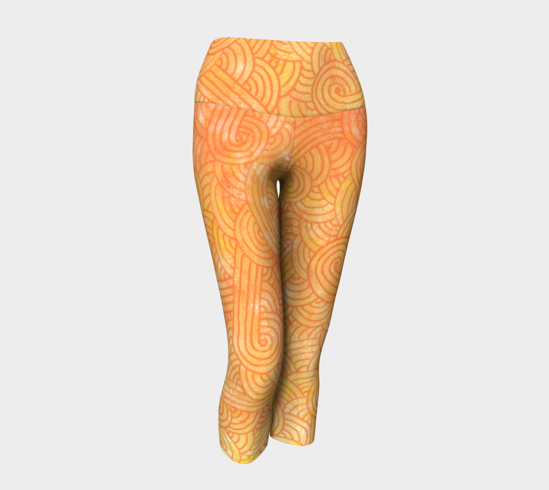 Yellow and orange swirls doodles Yoga Capris preview #1