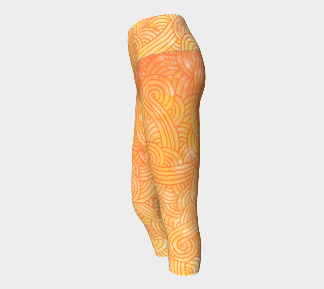 Yellow and orange swirls doodles Yoga Capris preview #2
