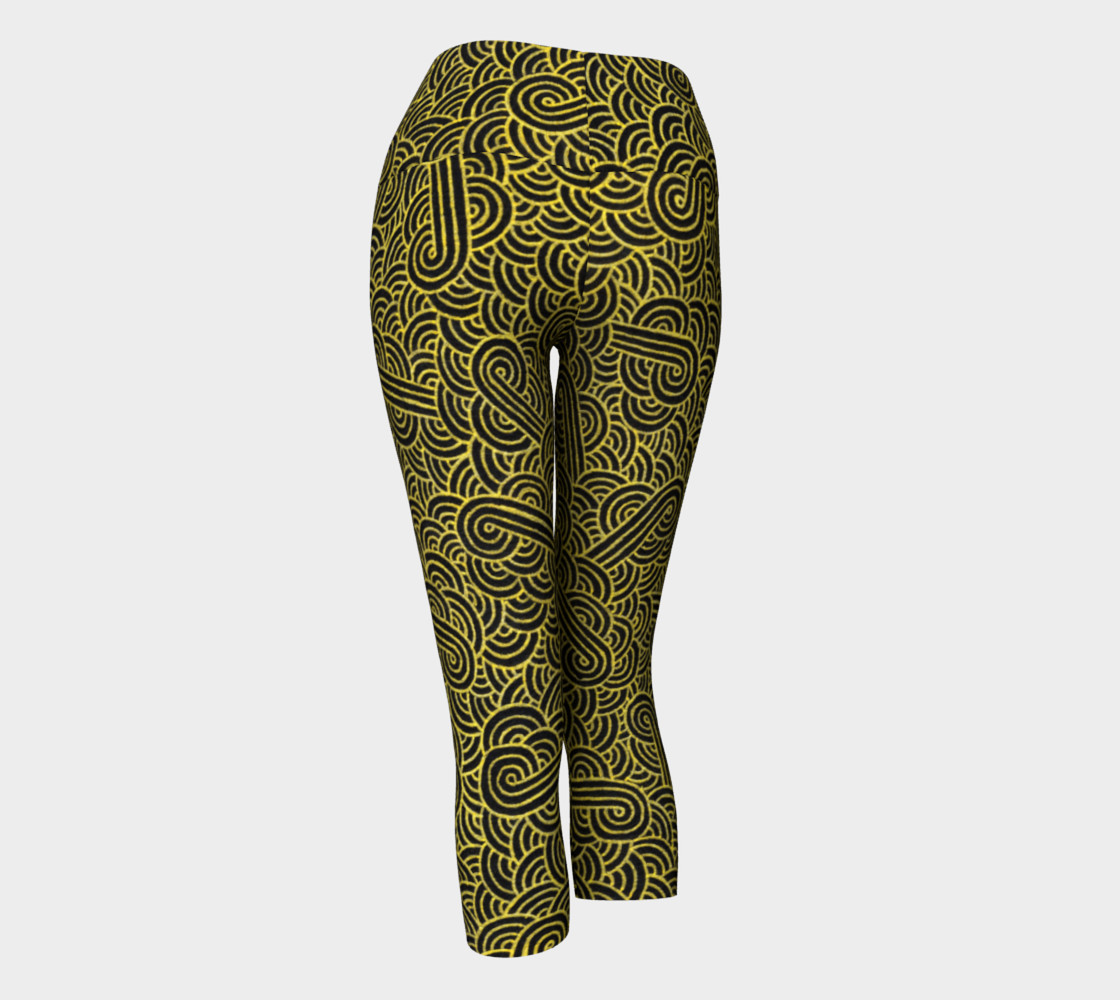 Faux gold and black swirls doodles Yoga Capris preview #3