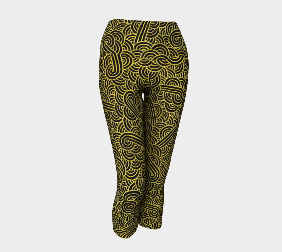 Faux gold and black swirls doodles Yoga Capris preview #1