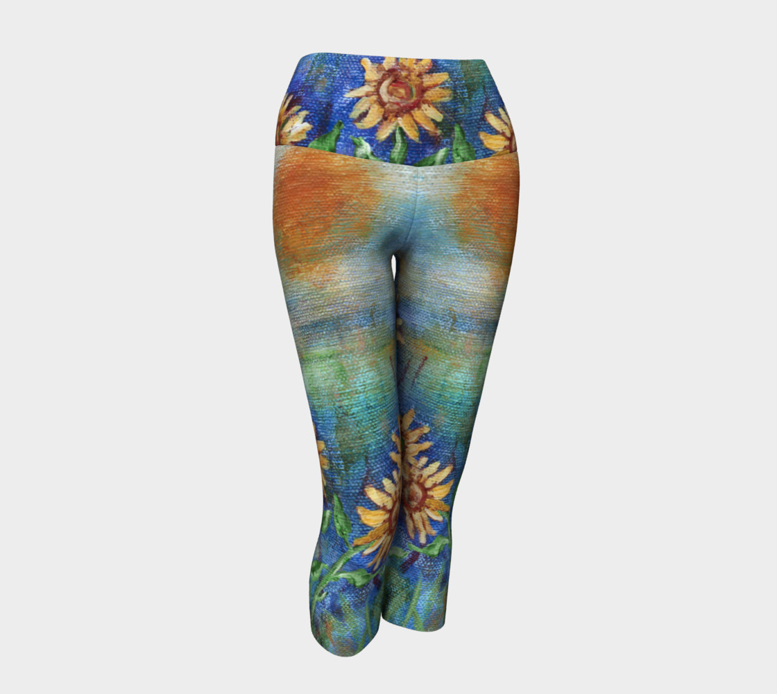 Sunflowers Denim Yoga Capris preview #1