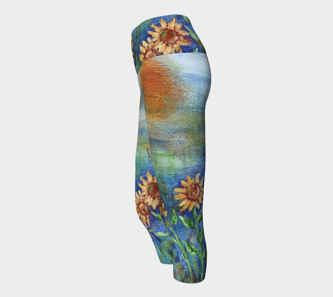 Sunflowers Denim Yoga Capris preview #2