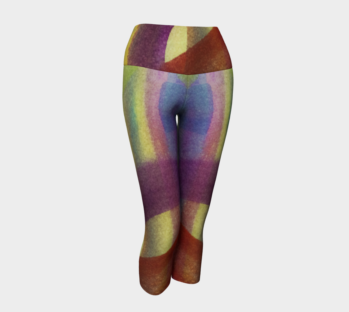 Tropical Watercolor Variation Yoga Capris 3D preview