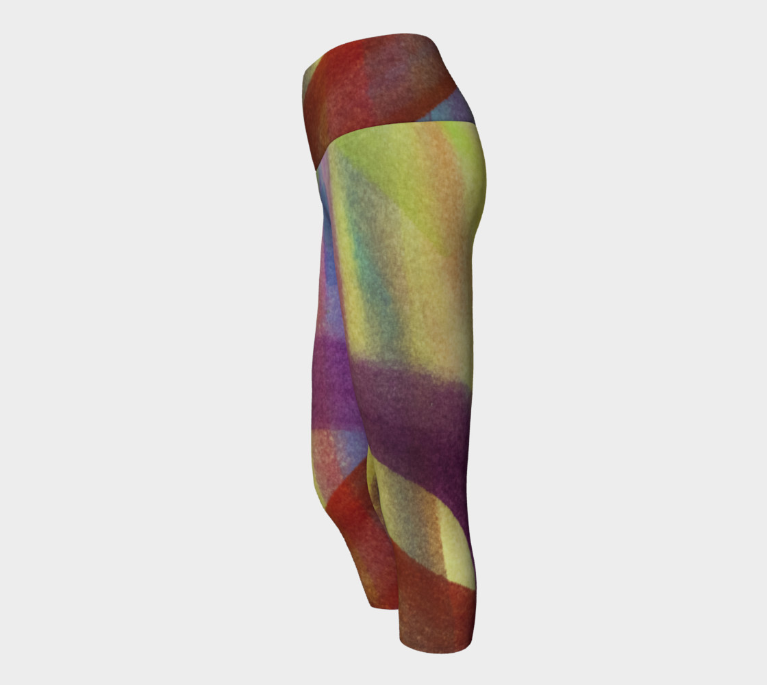 Aperçu de Tropical Watercolor Variation Yoga Capris #2