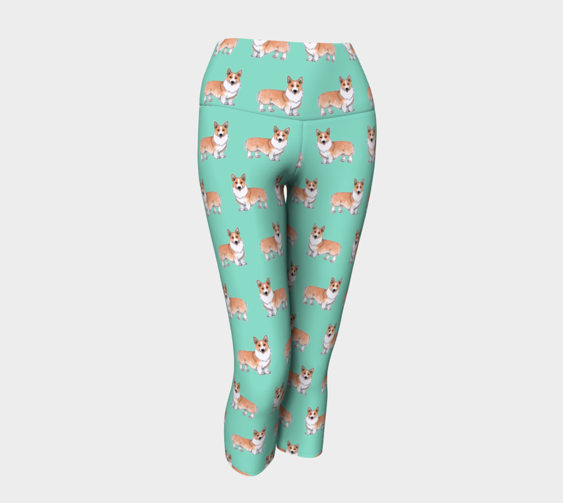 Welsh corgi dogs pattern Yoga Capris preview #1