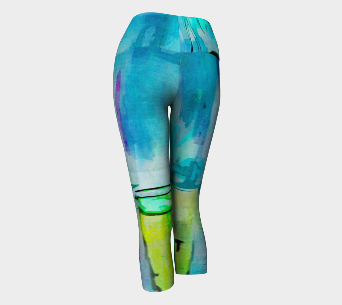 Abstract Watercolor Art Blue & Lime Green Yoga Capris preview #3
