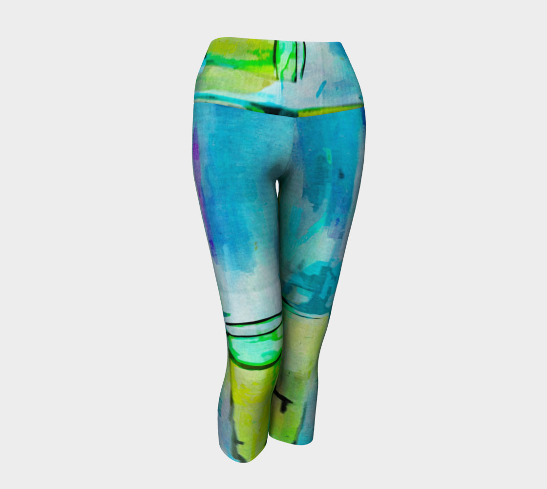 Abstract Watercolor Art Blue & Lime Green Yoga Capris preview #1