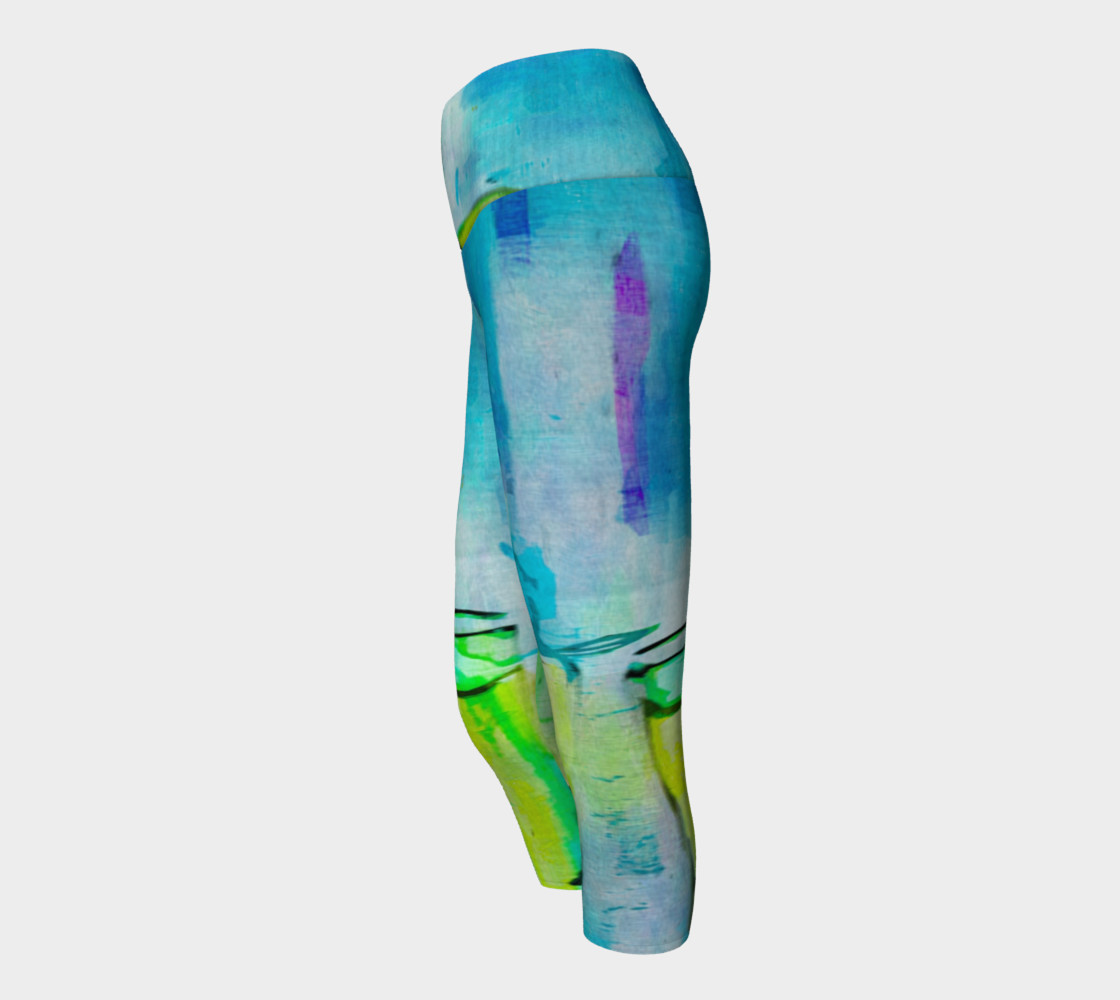 Abstract Watercolor Art Blue & Lime Green Yoga Capris preview #2