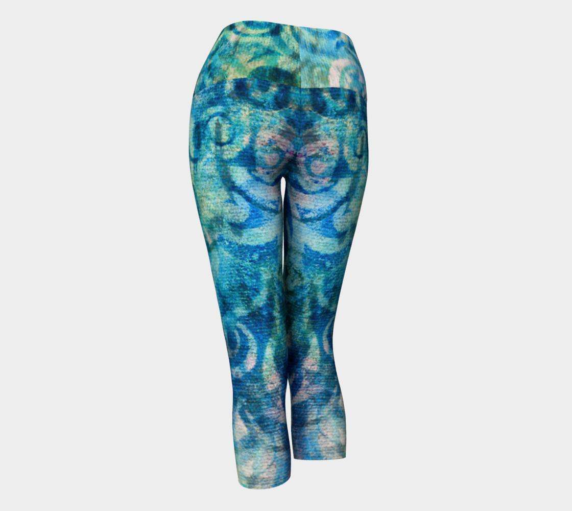 Aperçu de Blue Swirl 2 Yoga Capris #3