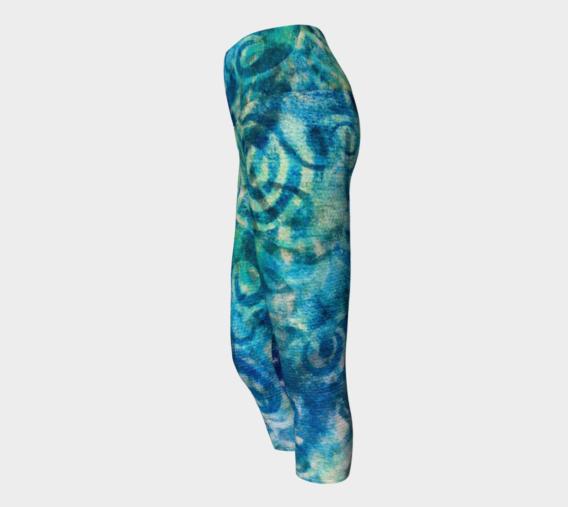 Aperçu de Blue Swirl 2 Yoga Capris #2