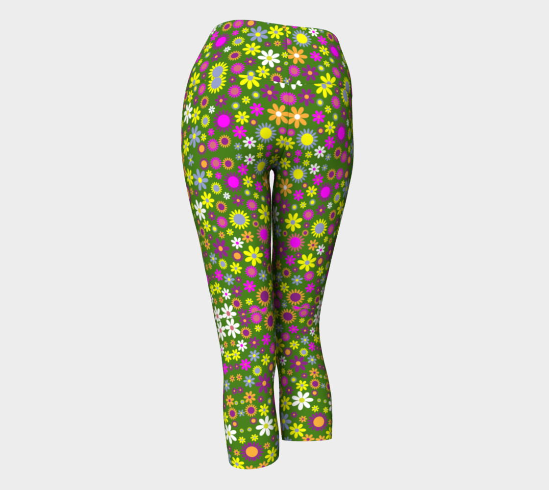 Green Floral Pattern Yoga Capris preview #3