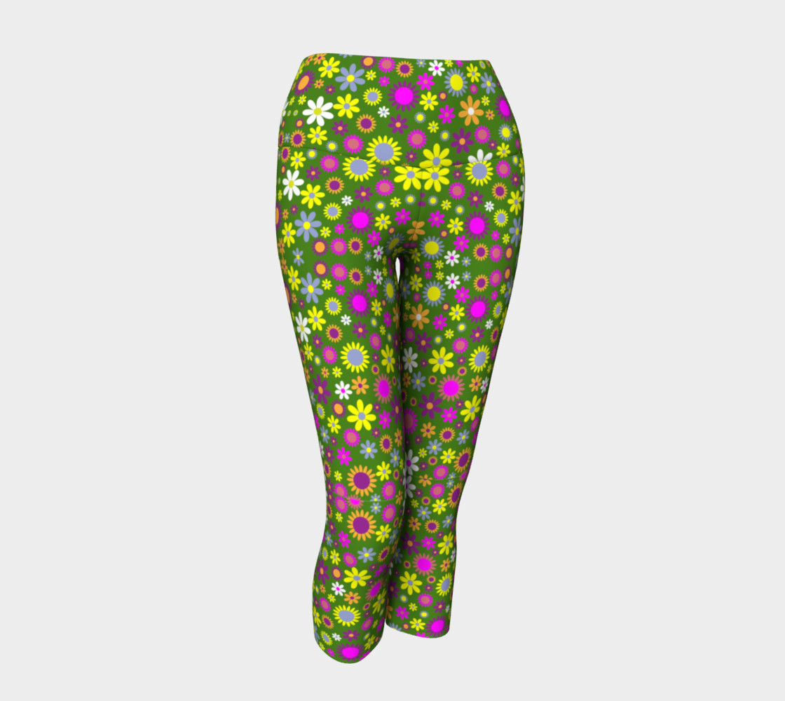 Aperçu de Green Floral Pattern Yoga Capris #1