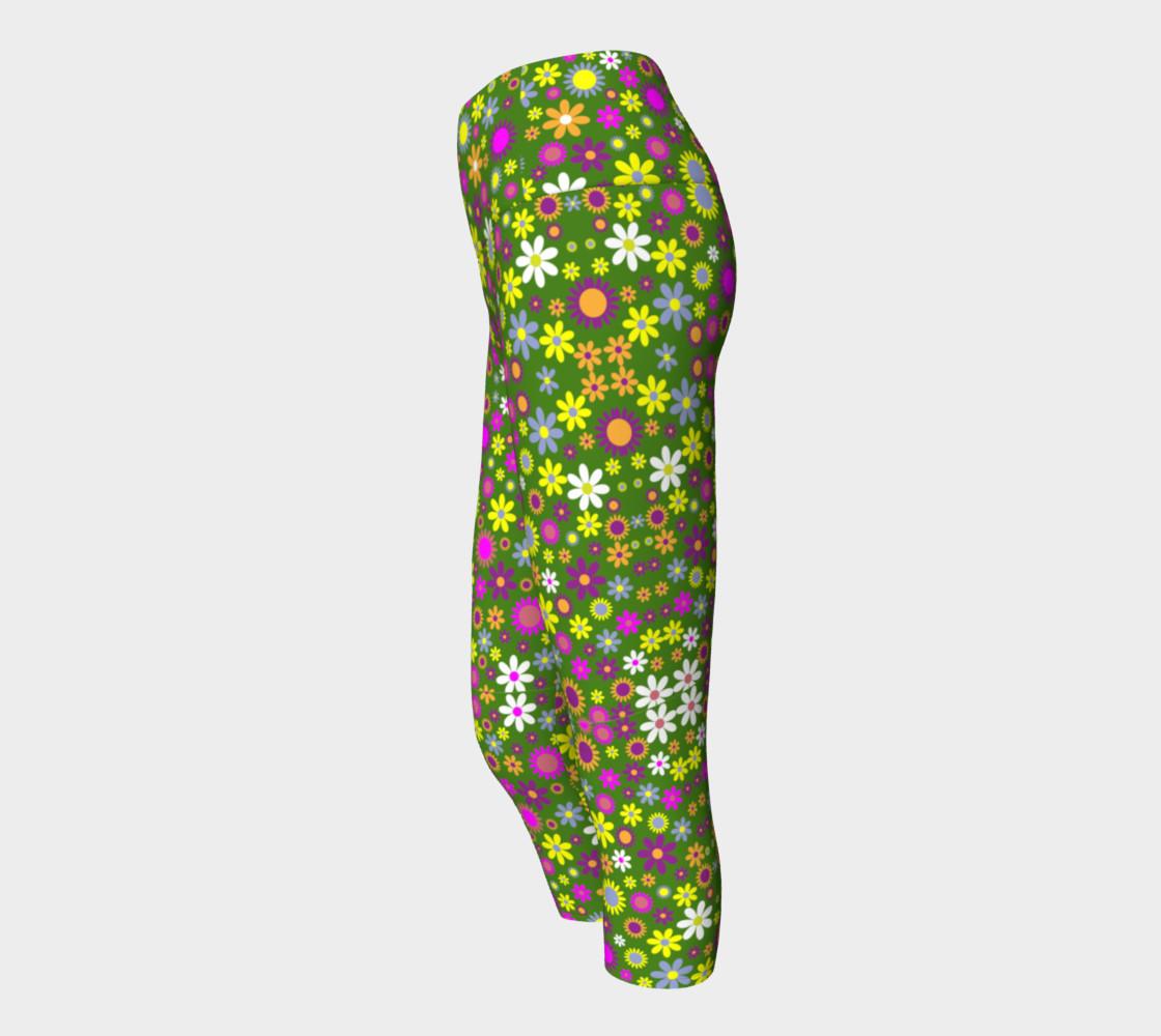 Aperçu de Green Floral Pattern Yoga Capris #2