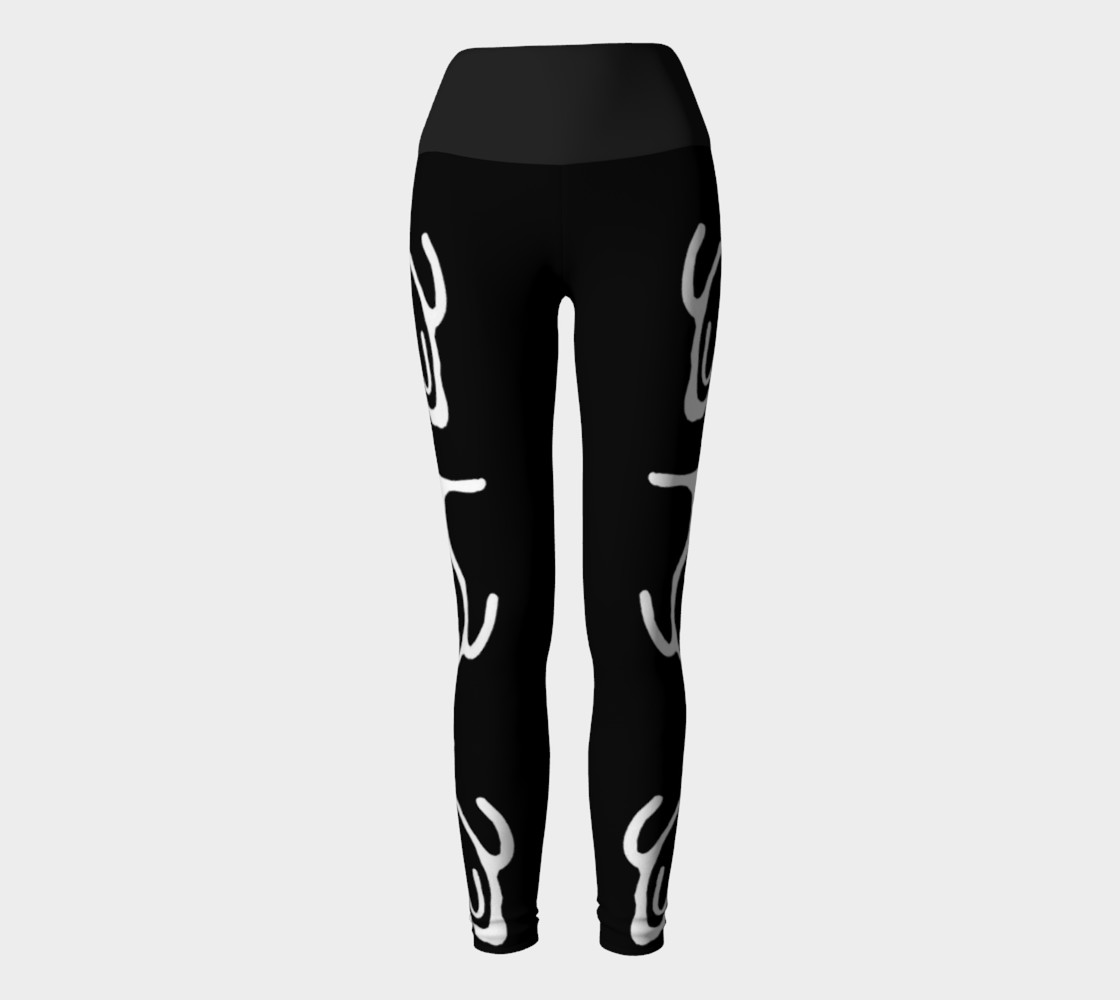 Black Yoga Leggings w/Whale Petroglyph preview #2