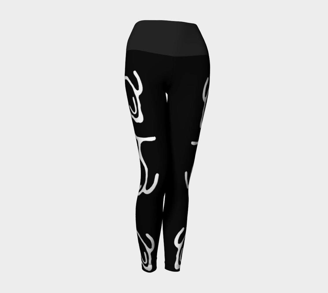 Black Yoga Leggings w/Whale Petroglyph preview #1