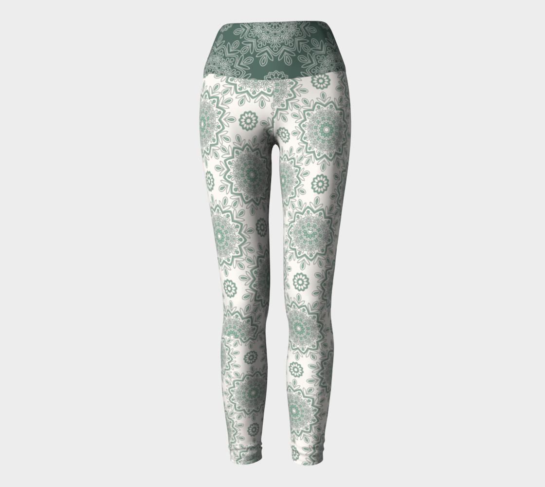 Mystic Mandala Green Yoga Leggings preview #2