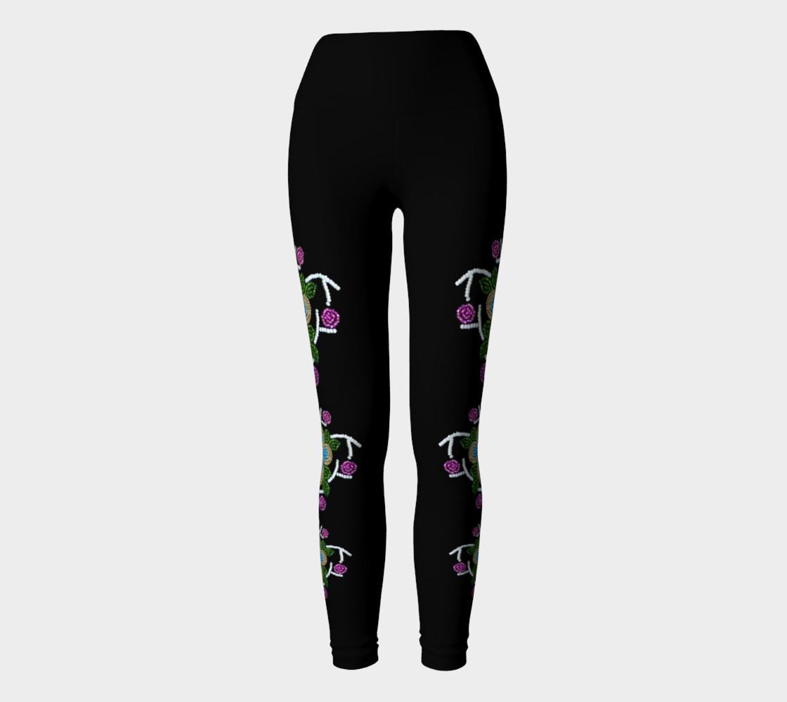 Ojibwe Floral Beaded Yoga Pants - Authentic  preview #2
